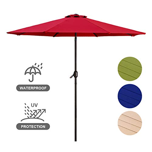 Patio Umbrella 9FT Upscale Garden Table Umbrella with 8 Sturdy Steel Ribs Crank System and Angle Tilt Adjustment Function, 220g Polyester Material, Shade Weatherproof Cover-Red ()
