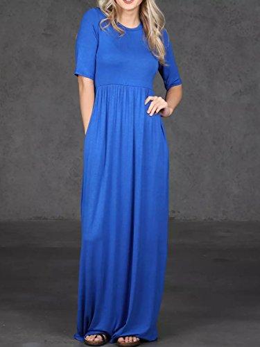 Maxi Corta Donne Sciolto Vestito Lungo Casuale Manica Coutgo Pianura Blu Vestito f5wpTq5n