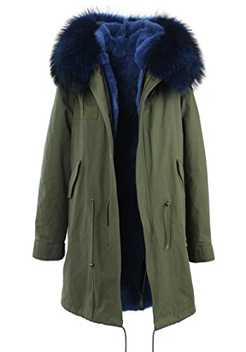 Women's Army Green Large Raccoon Fur Collar Hooded Long Coat Parkas Outwear Rabbit Fur Lining Winter Jacket (Medium, Blue)