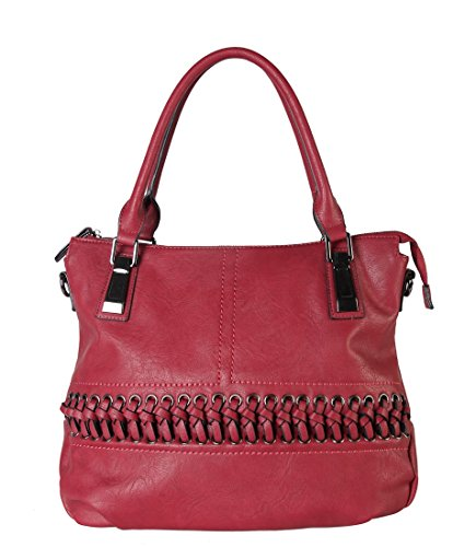 1600 Leather Accented Red CZ with Womens Laced Removable Purse PU Handbag Diophy Tote Front Strap RFaHqO