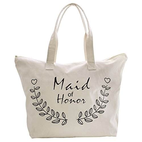 ElegantPark Maid of Honor Tote Bag for Wedding Bridesmaid Gifts Zip Canvas Cotton (Tote Of Maid Honor)