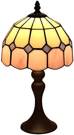 Tiffany Style Lamps Pink Small Table Desk Light 15 Inches Tall Stained Glass 8 Inches Wide Lamp Shade Vintage Antique Accent Lamp for Living Bedside Coffee Room College Dorm