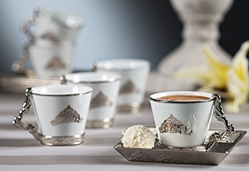 21 Pieces Paralysing Espresso Turkish Greek Coffee Serving Set - Porcelain Cups with Tray and Sugar Bowl - Vintage Design Ottoman Arabic Gift Set, Nacreous