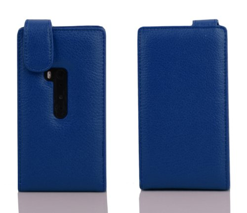 Cadorabo - Funda Flip Style para Nokia Lumia 920 de Cuero Sintético - Etui Case Cover Carcasa Caja Protección en AZUL-REAL AZUL-REAL