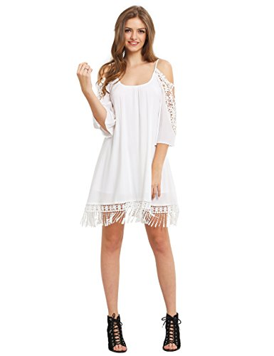 Milumia Women's Summer Cold Shoulder Crochet Lace Sleeve Loose Beach Dress White S