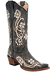 Circle G Womens Floral Embroidered Cowgirl Boot Snip Toe - L5176