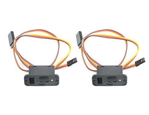 WGCD 2 PCS Heavy Duty On/Off Servo Switch with LED Indicator and Charge Port for JR Futaba RC Helicopter Airplane Power Supply