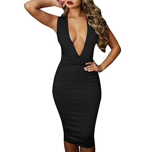 d4761b9df1a Caopixx Dress for Women Elegant Sexy Deep V Sleeveless Bodycon Dress  Evening Party Prom Dress Black