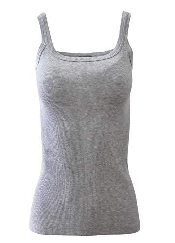 (BASIC COTTON Free Spirit Premium Quality 100% Cotton Women's Tank Top. Proudly Made in Italy. (Small, Grigio))