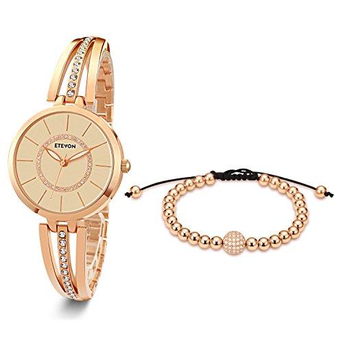 ETEVON Women's Rose Gold-Tone Analog Quartz Water Resistant Bangle Watch and Copper Bead Bracelet Set Jewelry Diamond Dial Classic Luxury Fashion Gift for Ladies