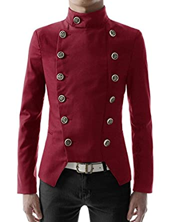 Steampunk Men's Coats Double Breasted High neck Slim fit Short Jacket  AT vintagedancer.com