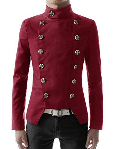 (TheLees (NJK4 Mens Casual Double Breasted High neck Slim fit Short Jacket Red US L(Tag size)