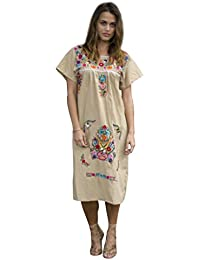 Embroidered Khaki Tan Peasant Dress