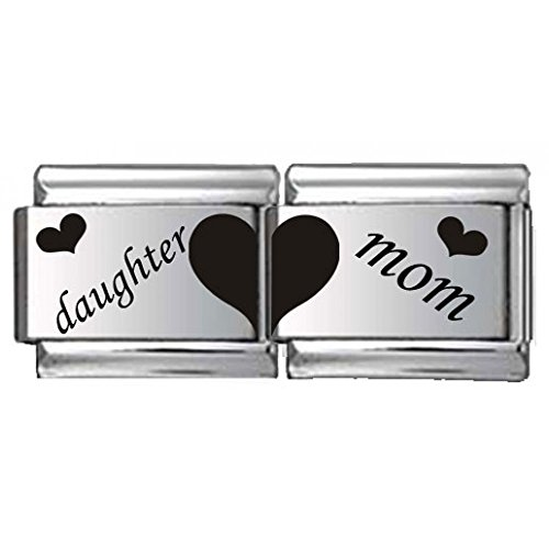 Daughter and Mom Double Link Laser Italian Charm (Italian Charm Display)