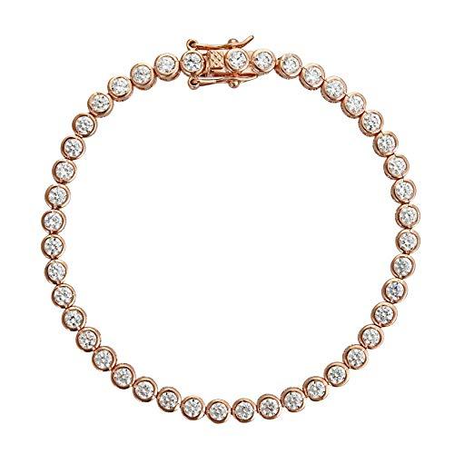 Decadence Women's Sterling Silver Rose 3mm Round Cut Bezel Set Tennis Bracelet, - 3mm Bezel Round Inch 7