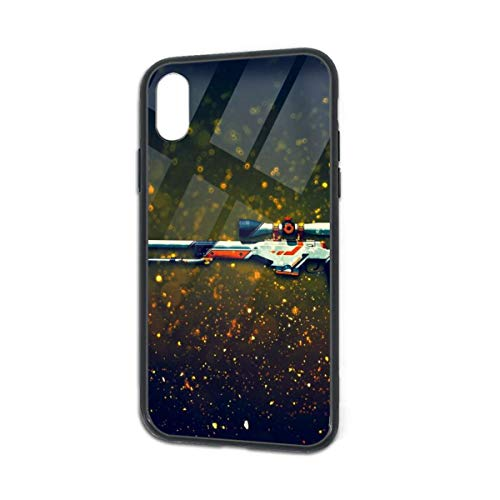 HengZhe iPhone Xs/X Case Cool Sniper Rifle TPU Ultra-Thin Slim Soft Silicone Cover Tempered Glass Back Cover Anti-Fall Protection 5.8 Inch]()