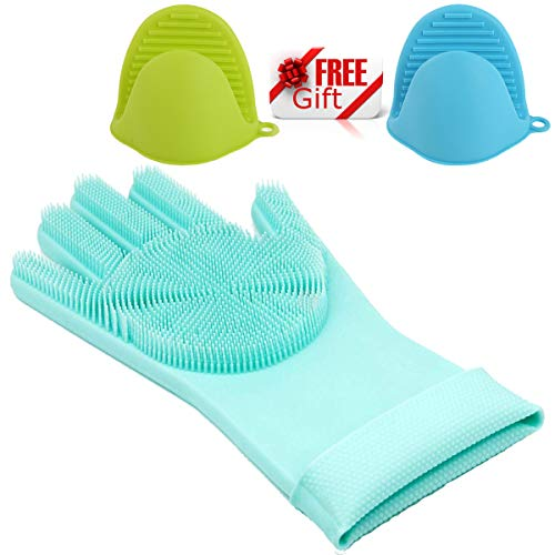 Price comparison product image KitchenHero Magic Silicone Gloves with Wash Scrubbers Reusable Brush Silicone Dish Scrubber Heat Resistant Gloves for Multiple Cleaning Uses (1 Pack,  Blue) with 2 Pack Oven Gloves as Free Gift