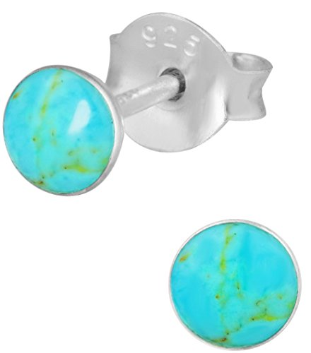 (Hypoallergenic Sterling Silver Simulated Turquoise Round Stud Earrings for Kids (Nickel Free))