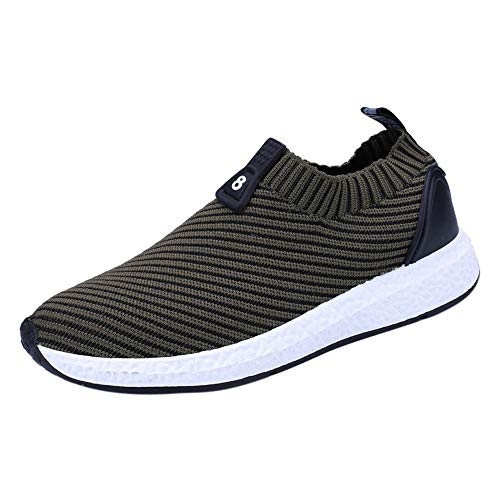 Mysky Fashion Men Leisure Solid Color Breathable Sweater Sneakers Men Simple Soft Flat Ankle Running Sports Shoes Green
