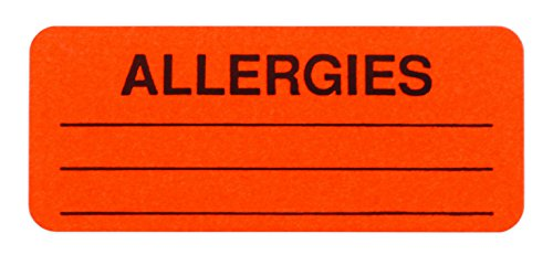 Warning Label Records (Allergies Sticker Labels in Dispenser Box | Write-on Fluorescent Red 1