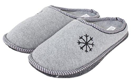 Herren Pantoffel Hausschuhe mit Filzsohle Größe 40 - 45 (41, grau)