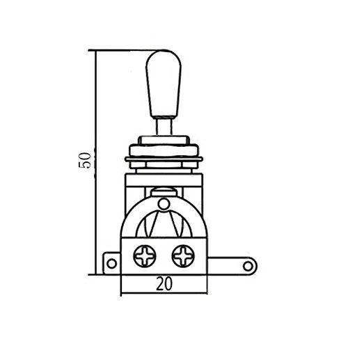 Guitarra eléctrica 3 way Toggle Interruptor Selector de pastillas con pomo de latón punta, negro: Amazon.es: Instrumentos musicales