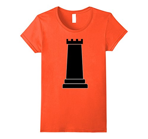 Womens Chess Piece Group Costume Shirt - ROOK (black) Medium Orange (Halloween Contest For Workplace)