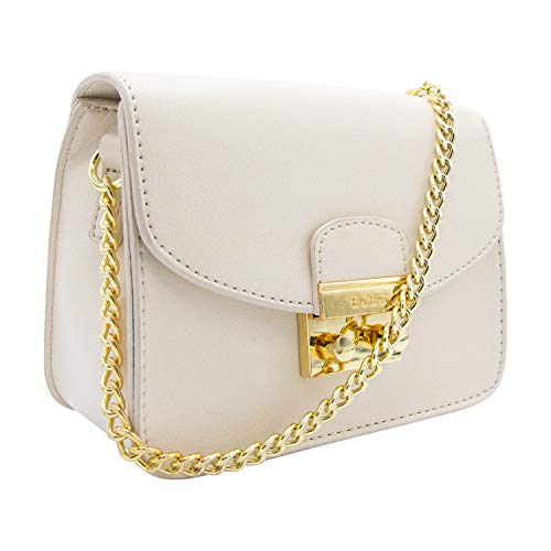 (BCBGeneration Milly Small Nude/White Crossbody Handbag for Women - Evening Bag, Purse with Chain Strap by BCBG)