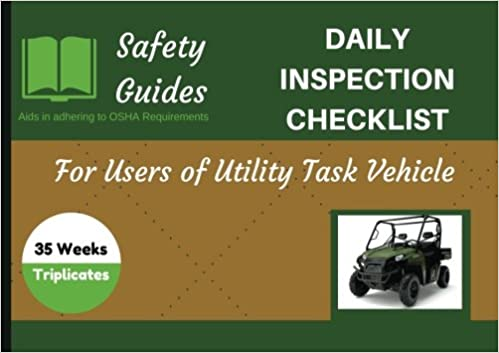 Utility Task Vehicle Daily Inspection Checklist Logbook Journal OSHA Record Keeping Checklists Safety Logs 85 X 6