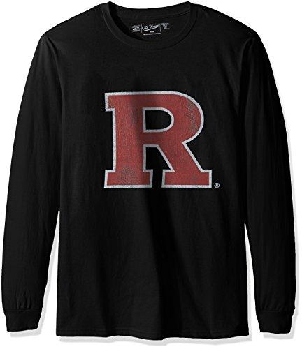 Original Retro Brand NCAA Rutgers Scarlet Knights Men's Long Sleeve Tee, X-Large, Black