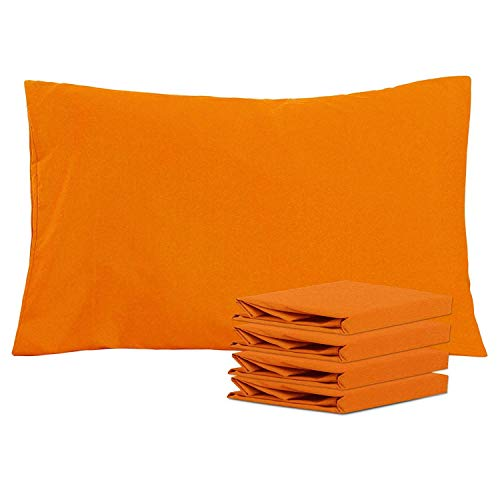 NTBAY Queen Pillowcases Set of 4, 100% Brushed Microfiber, Soft and Cozy, Wrinkle, Fade, Stain Resistant, Queen, Orange