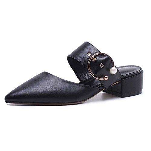 La Negro Negro Tamaño Han con Sandales Medias Nuevas Cinturón Acentuada De Joker Color Gruesas Edición De 39 Medias En Zapatillas Baotou Zapatos Verano con De De Cuero Mujer De Hebilla CwxnqHFpw