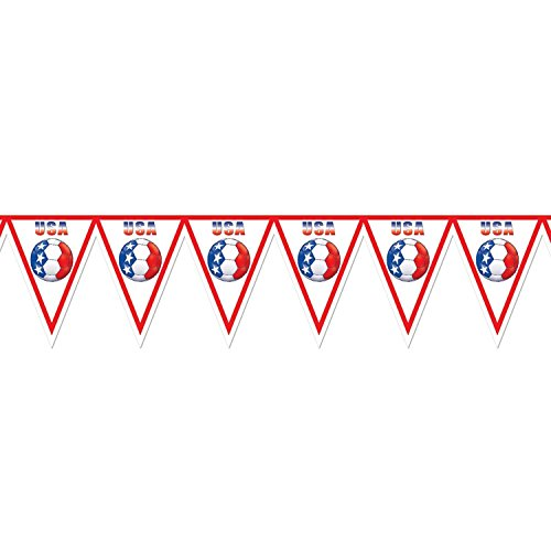 Pack of 6 Red, White and Blue USA Soccer Themed Pennant Banner Party Decorations 7.4' by Party Central