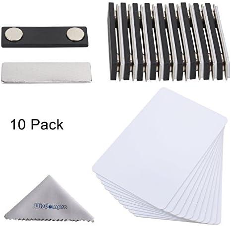 DIY Namensschilder, wisdompro® 10Set weiß bedruckbar Blanko PVC Buttons (3–3/20,3cm X 2–1/20,3cm) mit Magnet Namensschild für Jacke, Revers, oder Shirt–keine Löcher in Ihr fein Jacken oder Hemden
