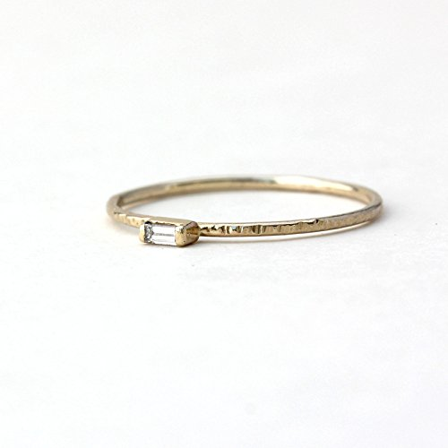Petite Baguette Diamond Hammer Texture Ring - Solid 14k Palladium White, 14k Yellow Gold, 14k Rose Gold, 950 Palladium, Platinum - Wedding Band, Engagement, Anniversary, Promise Ring