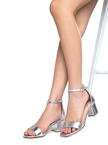 J. Adams Daisy Mid Heel Sandal, Silver PU, 10 B(M) US by J. Adams (Image #7)