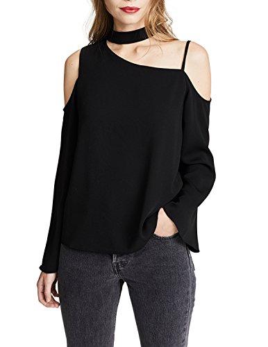 HAOYIHUI Womens Cut Out Halter Asymmetrical Cold Shoulder Flare Sleeeve Blouse(L,Black)