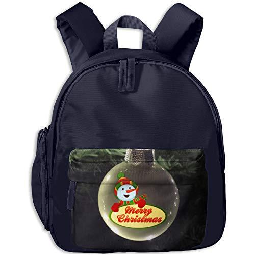 (Cute Christmas Greeting Light Bulb From Snowman Children Backpack Pocket Zipper Outdoor Travel School Book Bag)