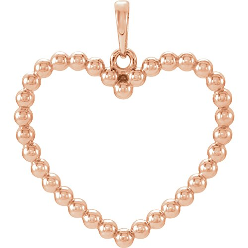Beaded 14k Heart (14K Rose Gold Beaded Heart Pendant)