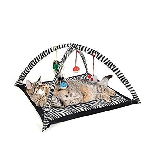 Vedem Gato Divertido Actividad de Juego de juguete Tienda de campaña Carpa Cama (White/Black)
