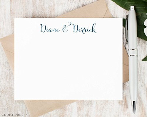 (SCRIPT COUPLE - Personalized Flat Stationery Set - Engagement, Wedding, Marriage Note Cards for Couples, Stationary Cards, Choose Color and Quantity)