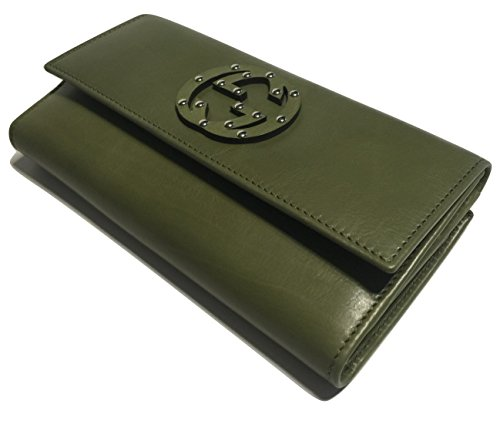 Gucci Wallets Continental Wallet (Gucci 231843 Washed Softcalf Green Tea Leather Continental Wallet Clutch)