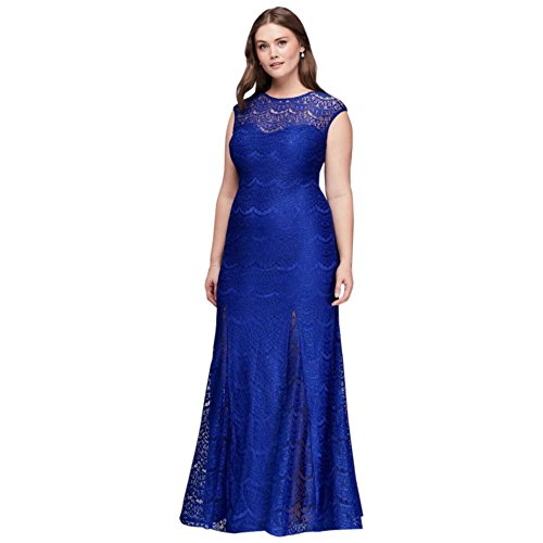 David's Bridal Scalloped Lace Plus Size Gown with Godet Skirt Style 21527W, Royal, 20 by David's Bridal
