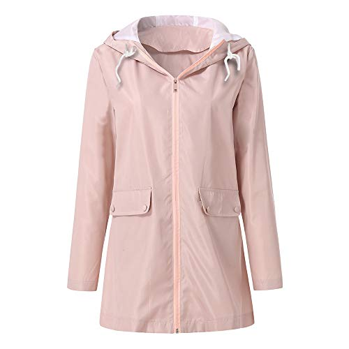 à d'hiver Women à Raincoat Rose Jacket Manteau capuche Manteaux Rain coupe longues Rcool femme manches vent wxqfzpAaqB