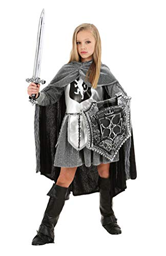 COSKING Girls Renaissance Horsewoman Costume, Retro Kids Halloween Swordsman Cosplay Outfit (Tag Size-S) -