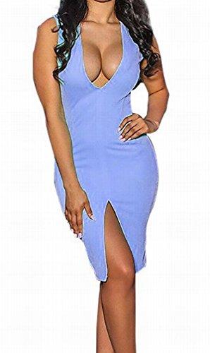 Domple Poches Pour Femmes Sans Manches Sexy Profonde Col V Club Bodycon Fente Bleue Mini-robe