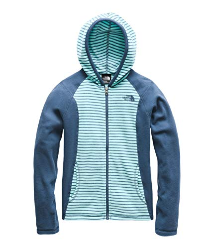 The North Face Kids Girl's Glacier Full Zip Hoodie (Little Kids/Big Kids) Mint Blue/Multi Thin Stripe Print - Fleece Childrens Embroidered