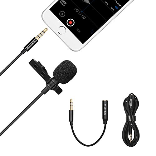 Hotec Premium Lavalier Lapel Microphone, 3.5mm Lapel Ominidirectional Condenser Mic for Apple iPhone Android, Windows Smartphones, PC and Tablet