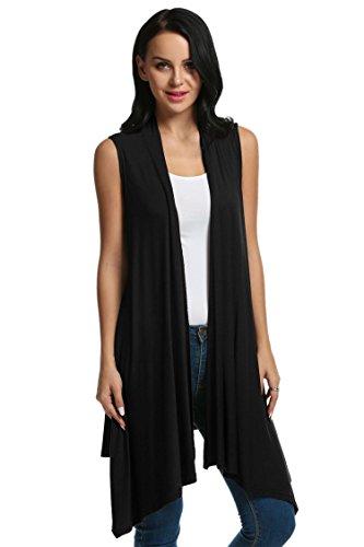 ELESOL Women's Sleeveless Asymetric Hem Open Front Drape Cardigan Sweater Vest Off Black (Silk Sweater Vest)
