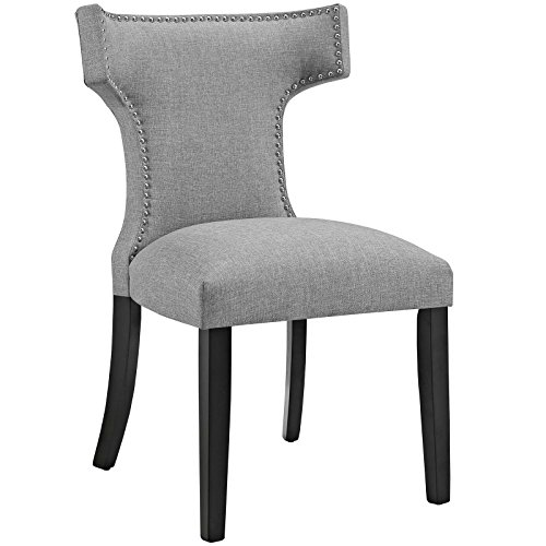 Modway Curve Mid-Century Modern Upholstered Fabric Dining Chair With Nailhead Trim In Light Gray by Modway